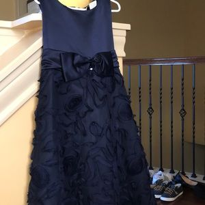 Navy Tulle Girls Formal Dress